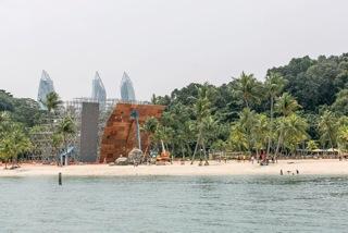 Die Wettkampfwand am Strand